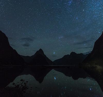 Interstellar dreams New Zealand Milford sound Fjordland night shooting stars