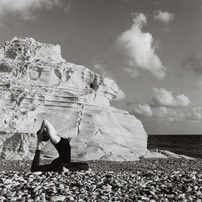 Yoga, Eka Pada Rajakapotasana stylization, sea, dove, asana, image, clouds, stone, boulder, rock