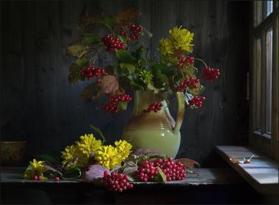 С калиной (3) осень дача калина букет кувшин цветы