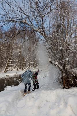 снегопад местного значения снег зима дети