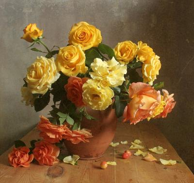 Растворилась нежность солнечных лучей Натюрморт розы букет цветов в вазе