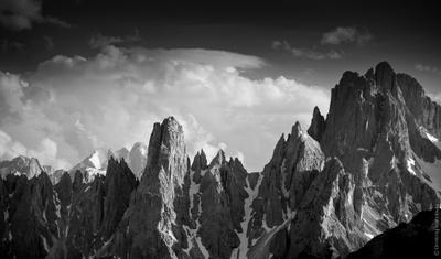 *** Gruppo Cadini, альпы, доломиты, доломитовые альпы, италия, горы, природа, пейзаж, скалы, пики, чб, ч\б, ч.б., воробей