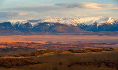 Осенний закат в Курайской долине.. пейзаж Алтай горы осень закат
