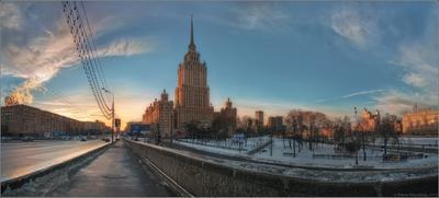 Вид с Новоарбатского моста на гостиницу «Рэдиссон Ройал» (бывшая «Украина»). Москва, Новоарбатский мост, гостиница, Рэдиссон Ройал, Украина