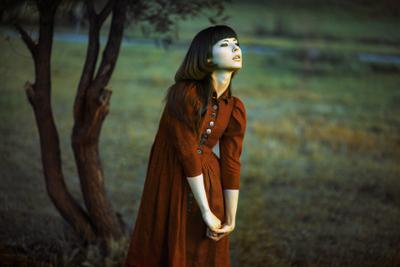 Sun-down red, scarlet, girl, portrait, maroon, dress, buttons, glance, stare, gaze, expressive, she, female, hair, fairytale, fantasy, natural light, available light, dark, sunset, dusk, sunlight, sun, setting, evening