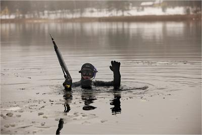 Охота пуще неволи. озеро, вода, лёд, зима, подводная охота