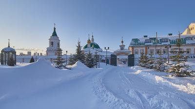 Мужской монастырь Зима снег монастырь