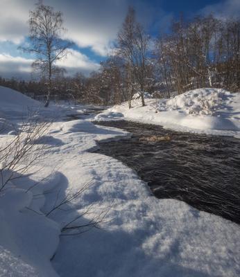 *** карелия речка зима