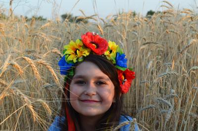 ку-ку дети улыбка пшеница поле венок цветы девочка