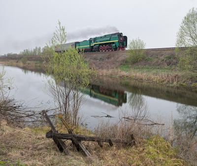Про паровоз и телеграфный столб паровоз ржд железная дорога рельсы дым поезд вагон генерал П36-0120