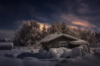 Полнолуние...окрестности г.Апатиты ,Мурманская обл,Кольский полуостров. Луна Кольский полуостров ночь зима деревня