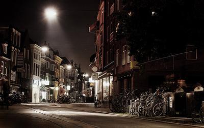 Вечерний Гронинген Гронинген, Голландия, вечер, велосипеды, дорожка, фонари