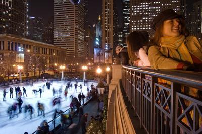 Настроение города каток Чикаго зима