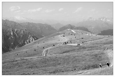 Высоко в горах горы, люди и коровы