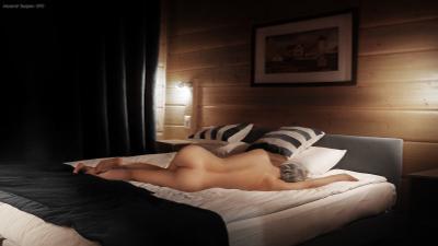 Домик в деревне девушка обнажённая красота спальня кровать интерьер