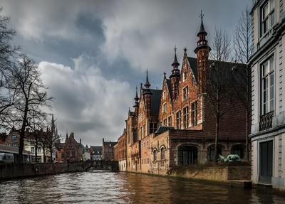 Водяной город... Брюгге, Бельгия, город, улица, канал,