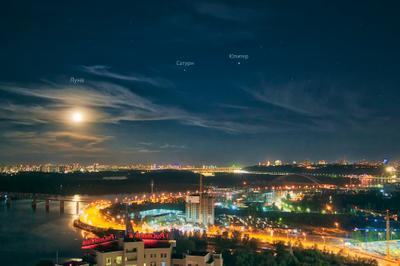 Вечерний Киев_1 ночной пейзаж ночное небо Киев город звездное звезды Луна Юпитер Сатурн