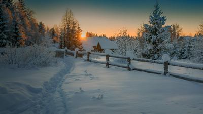 Зимний вечер в деревне... Вологодчина зима деревня