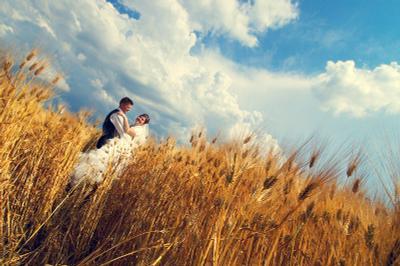 желто-голубое свадебная, фотография