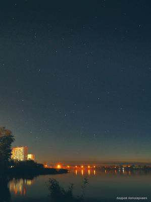 Сентябрьские звезды Екатеринбург закат пруд берег звезды небо