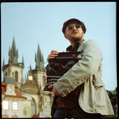 Prague story man typewriter retro