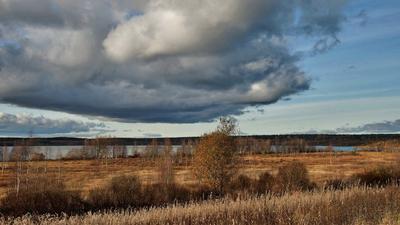 У озера Осень озеро луг тучи