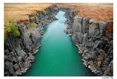 Краски северной природы.. исландия осень река с небесного цвета водой