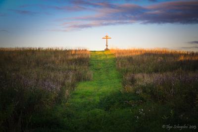 Путь 2013 russia autumn cross evening field footpath landscape sunset ленинградская область россия вечер закат крест осень поле тропинка
