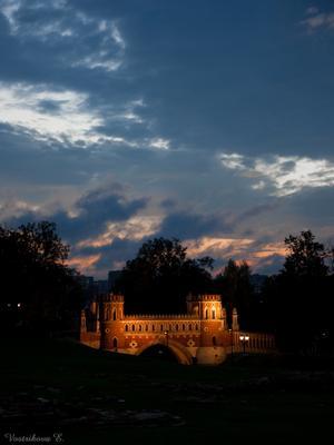 Сказочный мост Москва, Царицыно, вечер, небо, мост, парк, сказка