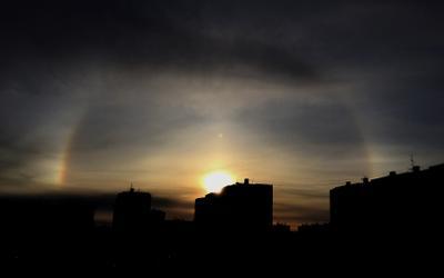 180° радуга радуга солнце закат север город Новый Уренгой природа небо