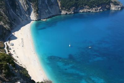 Myrtos Myrtos beach Kefalonia island Ionian sea Greece