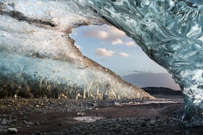 Хрустальная арка исландия лед ледник голубой пещера небо закат