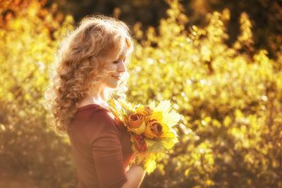 золотая осень осень, портрет, букет
