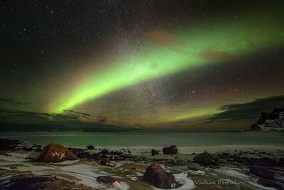 Северное сияние Aurora borealis Polar lights Норвегия Лофотенские острова фьорд ночь северное полярное сияние море звёзды астрономия наука