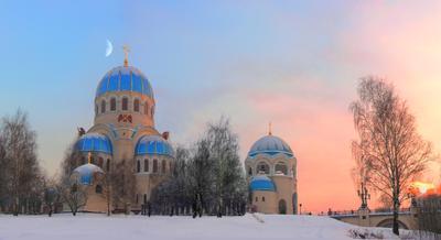 Вечер перед Рождеством храм москва город пейзаж закат рождество вечер