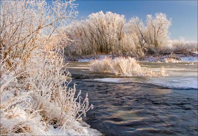Ноябрь.Солнечный день ноябрь река Ухта иней