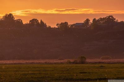 Деревня на закате поле закат