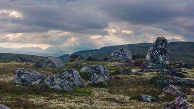 Камни ловозеры тундры горы скалы камни небо мох