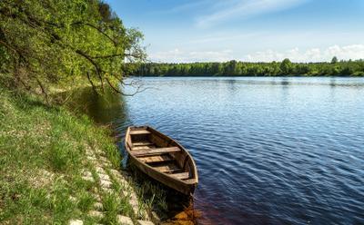 Лодочка река лодка весна берег