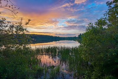 *** озеро вечер закат тучи облака берег трава лес
