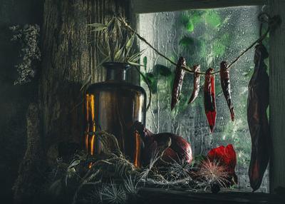 Зарисовки из кладовки 4 Натюрморт овощи окно низкий ключ на просвет