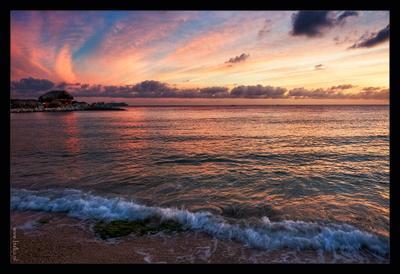 Карибский закат пейзаж, закат, Кюрасао