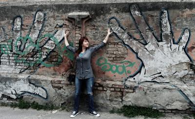 Urban Город девушка граффити