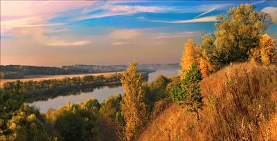 *** осень вечер река лес склон