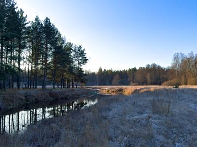 Ноябрьское утро природа снег ноябрь река