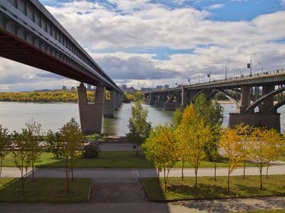 Мосты через Обь осень Новосибирск Обь мост