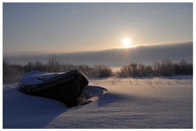 Зимний пейзаж на озере