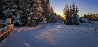 Вечер в деревне Холдынка... Вологодчина зима деревня