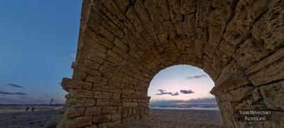 Акведук.Море.Закат акведук море закат Кейсария Израиль sea aqueduct sunset Caesarea Israel vakomin