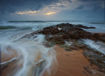 smoke curls seascape